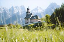Austria, Salzburg Land, Lofer, Au Church With Lofer Mountains In Background In Springtime