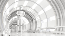 Three Dimensional Render Of Android Standing With Crossed Arms In White Bright Corridor