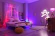 Leinwandbild Motiv Interior of stylish bedroom with neon lighting