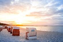 Germany, Mecklenburg-Western Pomerania, Ruegen, Binz, Beach At Sunset