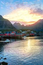 Norway, Moskenes, Lofoten Archipelago, Fishing Village At Sunset