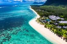 Mauritius, Helicopter View Of Beach And Tourist Resort On Le Morne Brabant Peninsula In Summer