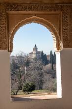 Spain, Andalusia, Granada, Alhambra, View On Church Santa Maria