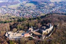 Germany, Hesse, Eberstadt, Aerial View Of Frankenstein Castle In Autumn