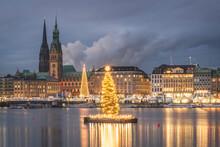 Germany, Hamburg, Town Hall, St. Nicholas' Church, Christmas Tree, Binnenalster In The Evening