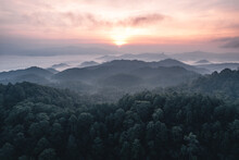 Mountains And Sunrise In The Morning