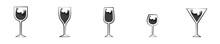 Conjunto De Icono De Copa De Vino. Concepto De Bebida. Ilustración Vectorial