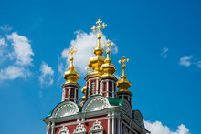 Russia, Moscow, Golden Domes In The Novodevichy Convent