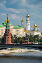 Russia, Moscow Seen From A River Cruise Along The Moskva