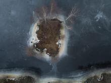 Russia, Saint Petersburg, Sestroretsk, Aerial View Of Islet In Frozen Pond