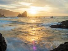 Spain, Biscay, Basque Country, Euskadi, San Juan De Gaztelugatxe, Bay At Sunset