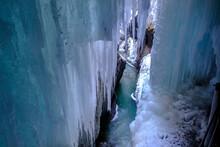 Germany, Bavaria, Upper Bavaria, Werdenfelser Land, Garmisch Partenkirchen, Partnach Gorge, Snow, Ice And Icicles
