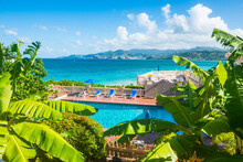 High Angle View Of Swimming Pool By Sea Against Blue Sky At Grenada, Caribbean