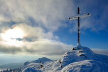 Germany, Bavaria, Bavarian Forest In Winter, Great Arber, Snow-capped Summit Cross