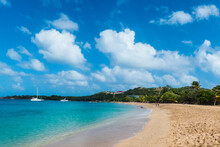 Scenic View Of Sandy Beach Against Sky At Salt Whistle Bay, Mayreau, Grenadines, St Vincent And The Grenadines, Caribbean