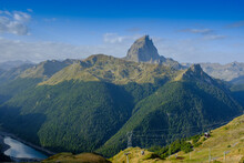 France, Pyrenees-Atlantiques, Laruns, Scenic View Of Pic Du Midi DOssau And Ossau Valley