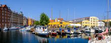 Denmark, Copenhagen, Various Boats Moored Along Christianshavn Canal