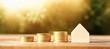 Leinwandbild Motiv Wooden house model outdoors. Investment or real estate concept