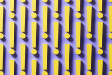 Three Dimensional Pattern Of Rows Of Yellow Exclamation Points