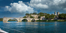 France, Vaucluse, Avignon, Panorama Of Clouds Over River Rhone And Pont Saint-Benezet