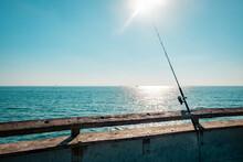 USA, California, Los Angeles, Fishing Rod On The Pier Of Venice