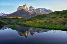 Chile, Ultima Esperanza Province, Cuernos Del Paine Reflecting In Nordenskjold Lake