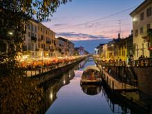 Italy, Milan, Porta Nuova, Navigli, Naviglio Grande At Dusk