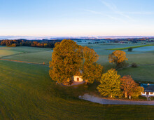 Germany, Upper Bavaria, Aerial View Of Maria Dank Chapel On Fuerstenberg, Starnberger See In The Background