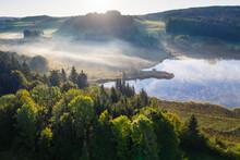 Germany, Bavaria, Upper Bavaria, Toelzer Land, Harmating, View Of Pond In Landscape In Morning Light And Mist
