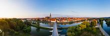 Panoramic Shot Stone Bridge Over Danube River In Regensburg, Bavaria, Germany