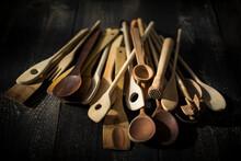 Pile Of Various Wooden Kitchen Utensils