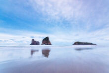 New Zealand, South Island, WhararikiÔøΩBeach, Archway Islands, Rock Formations In Sea
