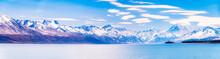 New Zealand, South Island, Scenic Mountainous Landscape Of Lake Pukaki