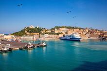 Italy, Province Of Ancona, Ancona, Ferries And Cruise Ship Moored In Harbor Of Coastal City