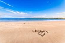 Scotland, Orkney Islands, South Ronaldsay, Empty Beach With Heart Drawn On Sand