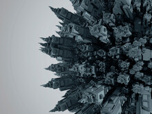 3D Rendered Illustration Of A Cartoon Planet Filled Entirely With Urban Buildings And Skyscrapers