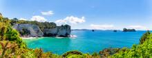 New Zealand, Panorama Of Stingray Beach In Summer