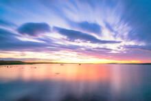 UK, Scotland, Mainland, Long Exposure Of Loch Of Harray At Purple Sunset