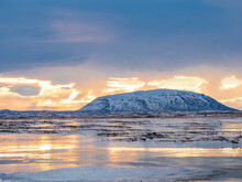 Iceland, Snowy Landscape, Early Morning In The North East