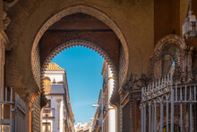 A Historic Moorish Gate Close To The Cathedral Of Seville, Seville, Spain