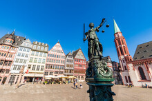 Statue Of Lady Justice At RÔøΩmerberg Old Town Square Against Clear Sky In Frankfurt, Germany