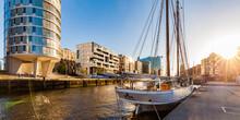 Germany, Hamburg, HafenCity, Traditional Ship Harbor Sandtorhafen And Modern Multi-family Houses