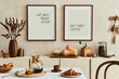 canvas print picture - Creative and modern dining room interior design with mock up poster frames, beige sideboard, family dining table and retro inspired personal accessories. Copy space. Template. Autumn vibes..