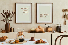 Creative And Modern Dining Room Interior Design With Mock Up Poster Frames, Beige Sideboard, Family Dining Table And Retro Inspired Personal Accessories. Copy Space. Template. Autumn Vibes..