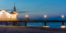 Germany,ÔøΩMecklenburg-WesternÔøΩPomerania, Heringsdorf, Illuminated Pier And Seaside Resort At Dusk