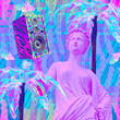 canvas print picture - Contemporary minimal fashion concept collage. Antique statue Lady and Dj Disco stuff. Back in 90s party style. Zine and vapor wave cuture