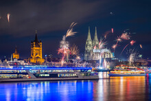 Germany, North Rhine-Westphalia, Cologne, Townhall, Gross Sankt Martin And Cologne Cathedral, New Year's Eve