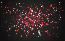 Colorful Confetti And Ribbons On Dark Background
