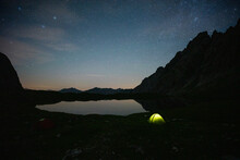 Tent At Lake Kogelsee At Night, Tyrol, Austria
