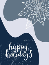Christmas Abstract Background Texture In Modern Style. New Year Illustration.Minimal Art.Vector Illustration Modern Layout Template. Poster With Abstract Shapes, Texture. Christmas Handdrawn Lettering